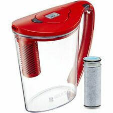 Brita Hydro Stream 10 Cup BPA Free Filter-As-You-Pour Water Pitcher, Chili Red