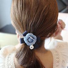 Fabric pearl bow flowers hair circle hair rope Korean headdress Ponytail Holder