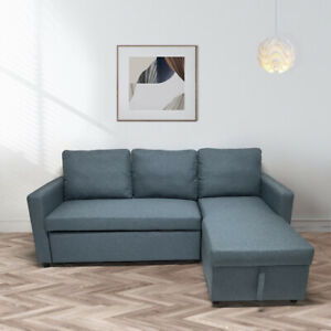 BRAND NEW Scandinavian style CORNER SOFA BED GREY FABRIC WITH STORAGE