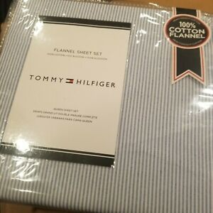 Tommy Hilfiger Queen Blue White Ticking Stripe Sheet Set Flannel