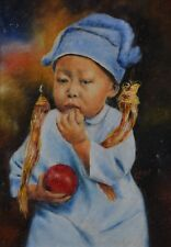 Ella Agnes Whitmore-Stedman Oil Painting EAW Chinese Child Antique