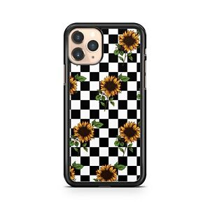 Sunflowers Checkered Black Check White Squares Floral Pattern Phone Case Cover