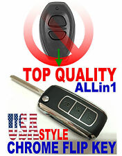 CHROME FLIP KEY FOR TOYOTA BAB237131-022 RS3000 BLACK EAR REMOTE IGNITION BEEPER