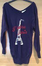 Dark Blue Paris Long Length Sleeve V Neck Top Jumper Summer Size 8 Small Slouch