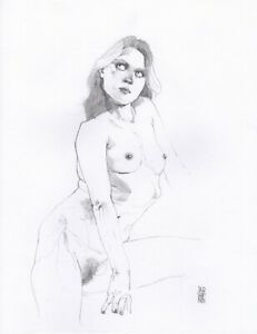 Sweet Sower - Graphite Sketch 11x14in - Nude Figure Leo Charre