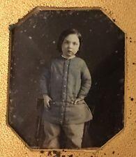 Cutest Boy In Blue Tinted Tunic Daguerreotype ! Sharp