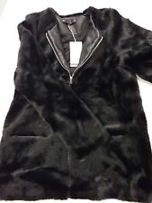 ZARA Black Long Faux Fur Coat Jacket With Zip And Pockets Medium M