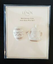 Beautiful Lenox Porcelain Jewelry Easter Egg +Watering Can Pin Set Gold Trim New