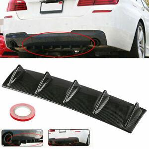 Universal Carbon Black Rear Bumper Lip Diffuser Shark Fin Car Back Splitter 5