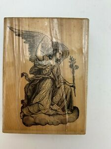 """Marks Of Distinction 1991 Wooden Rubber Stamp Angel Collectibles 4x3"""""""