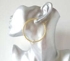 Large gold tone patterned hoop earrings with sparkly diamante bead detail - 6cm