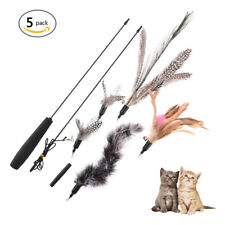 Cat Kitten Feather Teaser Wand Interactive Toys with 5 Feather Replacement Head