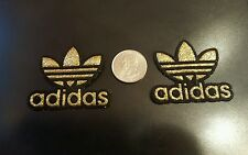 """2 - ADIDAS Gold Sparkle PATCHES  Logo embroidered iron on Patch Lot 2"""" x 2"""""""