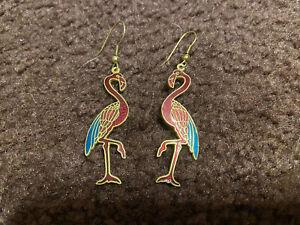 Girls Flamingo Bird Stork Dangle Earrings VGUC