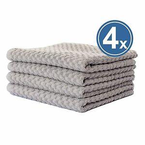 4 X Hand Towel Terry 50x100 Grey 100% Cotton Griechenbordüre & Waffle Pattern