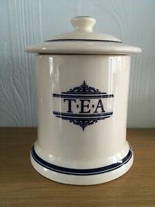 The 1869 Victorian Pottery Tea Storage Caddy Jar Cream Blue (J4U)