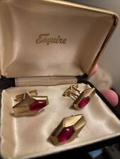vintage cufflinks and tie clip Esquire, Red Stone