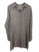 Kori America Tunic Blouse Long Roll Tab Sleeve Striped Rayon Women Size L -NWT