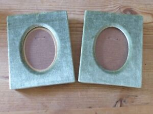 Two Vintage Green Velvet Covered Picture Frames 9cm x7cm Picture Size.