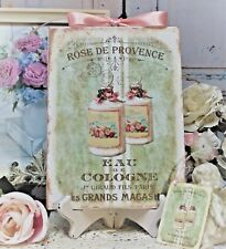 """Shabby Chic Vintage French Country Wall Decor Sign """"Rose de Provence..."""""""