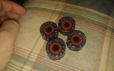 4 Red Ring black knobs volume tone FITS split shaft IMPORT pots LTD IBANEZ EPI