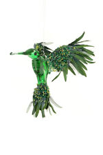 Green Humming Bird Christmas Tree Hanging Decoration with Beaded Sparkle Finish