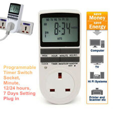 Digital Electronic UK Plug-in Programmable 12/24 H LCD Timer Switch Socket