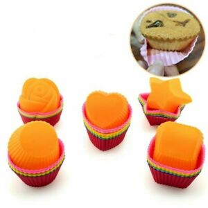 12pcs/lot Color Random Silicone Cake Muffin Chocolate Cupcake Baking Cup Molds