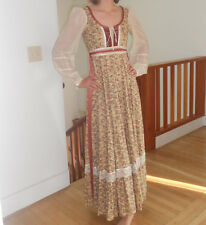 vtg 70s beige floral lace gunne sax full boho hippie festival MAXI dress xs
