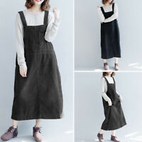 Women Loose Baggy Strap Pinafore Dress Dungaree Corduroy Overalls Long Dress