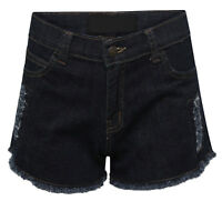 Womens Stretch Denim Shorts Ladies Distressed Jeans Hot Pants Ripped Hotpants