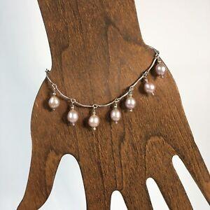 Lavender Cultured Pearl Bracelet 925 Silver Dangle Mauve