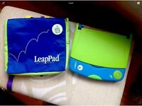 leapfrog leappad blue/yellow inc console/bag/book/cartridge/batteries.Ex CON.