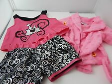 Build A Bear Accessories 3 piece Pajama Outfits Pink Robe Top and Shorts