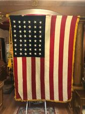 "U S Ceremonial 48 Star Flag 4'4"" x 5'6"" w/ 9' Oak two piece Pole Very Nice"