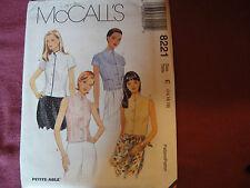 Vtg McCalls Pattern 8221 Miss Blouse Shirt 1996 Sz 14/16/18 Bust 36/38/40 Collar
