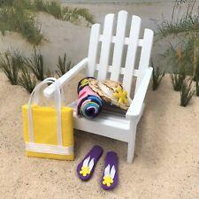 """Dollhouse Miniature Beach Set #4 Flip Flops Sandals Hat Towel Bag 1"""" Scale 1:12"""