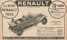 Y7029 Voiture RENAULT 10 HP - Elenco Prezzi - Pubblicità d'epoca - 1922 Old ad