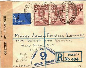 GOLD COAST WW2 Censor Cover CLIPPER High Rate USA Air Mail 1942 Registered MA812