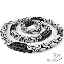 Königskette Edelstahl Kette Panzerkette Halskette Männer Herren silber schwarz