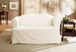 Natural Box-cushion T- Sofa Sure fit Cotton Duck One Piece Slipcover