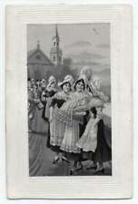 Women with Baby Woven Silk Embroidered Antique Postcard J76792