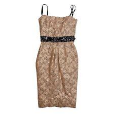 D&G Gabanna gold Bronze Lace Floral Patent Leather Sheath Pencil Dress SZ 36 0