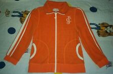 JUICY COUTURE Orange & White Terry Track Suit Jacket Size M Medium Puff Sleeves