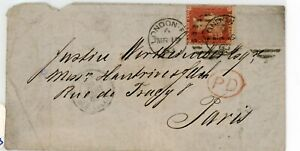 GREAT BRITAIN--Cover sent to Paris in 1863 franked with Scott #11