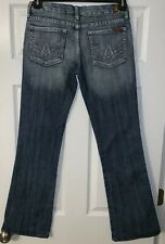 7 For All Mankind Pink A Pocket Distressed Jeans Womens 27 33 Blue