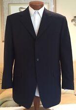 Stunning Canali Navy Blue Wool Plaid 3 Btn Blazer Sz 42 R MINT!
