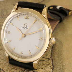 Mens Pristine 1949 Omega 14K SOLID GOLD 17j Swiss LARGER Size 371 Caliber Watch