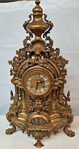 "Hermle Gothic ImperialGilt BronzeClockLarge Antique 24"" L x 13"" W"
