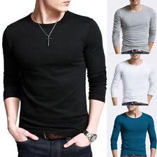 moda uomo manica lunga T-Shirt girocollo tinta unita MAGLIETTA COTONE camicie